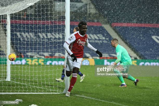 Bukayo Saka of Arsenal celebrates after scoring their 2nd goal during the Premier League match between West Bromwich Albion and Arsenal at The...