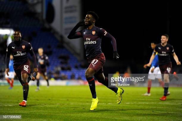 Bukayo Saka of Arsenal celebrates scoring his team's first goal during the Checkatrade Trophy match between Portsmouth and Arsenal U21 at Fratton...
