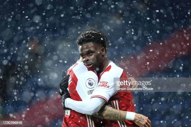Bukayo Saka of Arsenal celebrates scoring their 2nd goal during the Premier League match between West Bromwich Albion and Arsenal at The Hawthorns on...