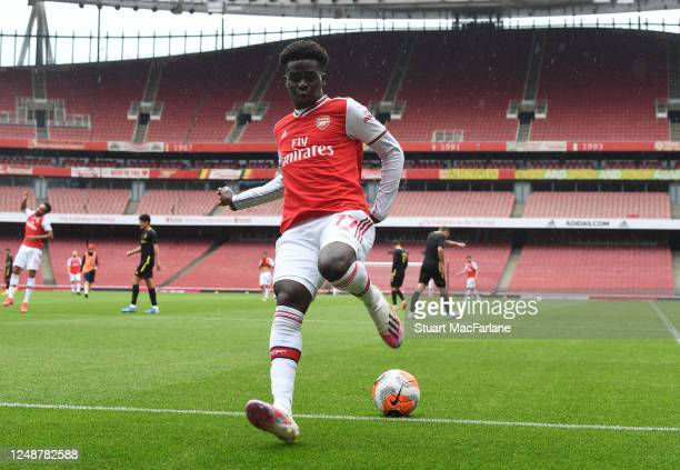 Bukayo Saka of Arsenal during a friendly match between Arsenal and Brentford at Emirates Stadium on June 10 2020 in London England