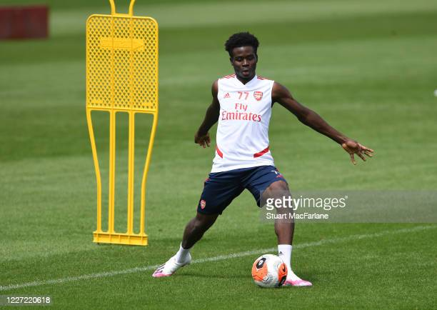 Bukayo Saka of Arsenal during a training session at London Colney on May 26 2020 in St Albans England