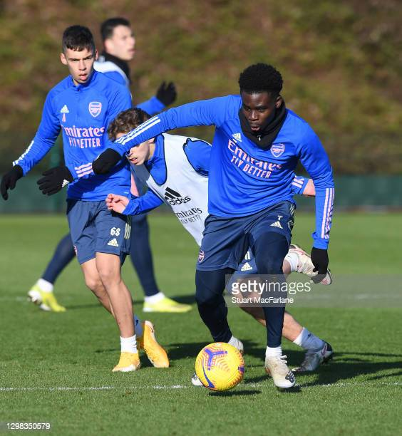 Bukayo Saka of Arsenal during a training session at London Colney on January 25, 2021 in St Albans, England.