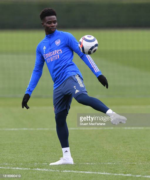 Bukayo Saka of Arsenal during a training session at London Colney on May 08, 2021 in St Albans, England.