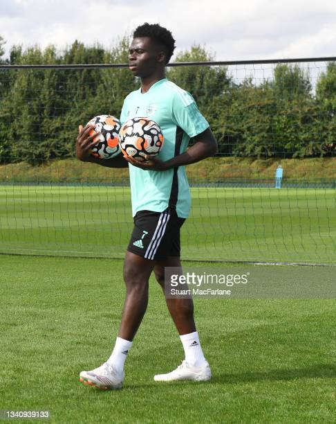 Bukayo Saka of Arsenal during a training session at London Colney on September 17, 2021 in St Albans, England.