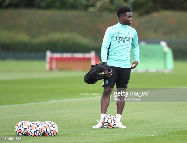 Bukayo Saka of Arsenal during a training session at London Colney on September 28, 2021 in St Albans, England.
