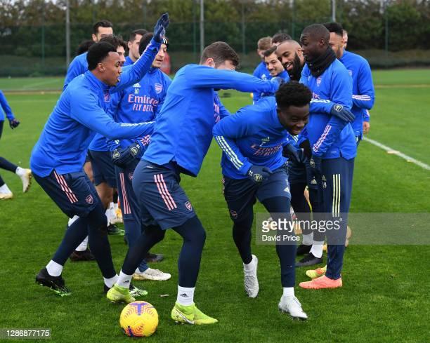 Bukayo Saka of Arsenal during the Arsenal 1st team training session at London Colney on November 21 2020 in St Albans England