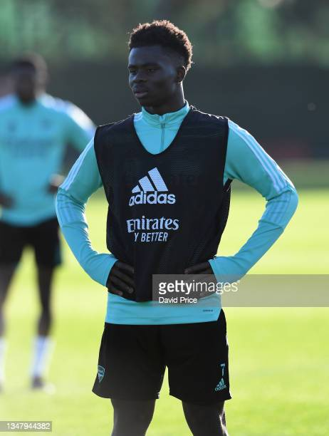 Bukayo Saka of Arsenal during the Arsenal 1st team training session at London Colney on October 21, 2021 in St Albans, England.