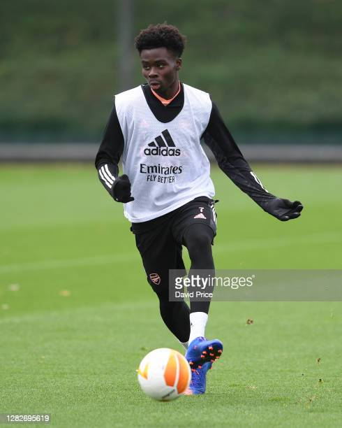 Bukayo Saka of Arsenal during the Arsenal training session ahead of the UEFA Europa League Group B stage match between Arsenal FC and Dundalk FC at...