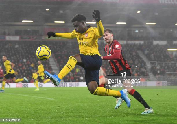 Bukayo Saka of Arsenal during the Premier League match between AFC Bournemouth and Arsenal FC at Vitality Stadium on December 26 2019 in Bournemouth...