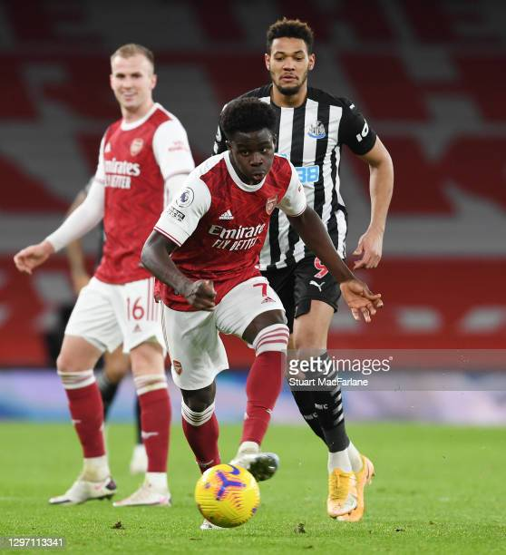 Bukayo Saka of Arsenal during the Premier League match between Arsenal and Newcastle United at Emirates Stadium on January 18, 2021 in London,...