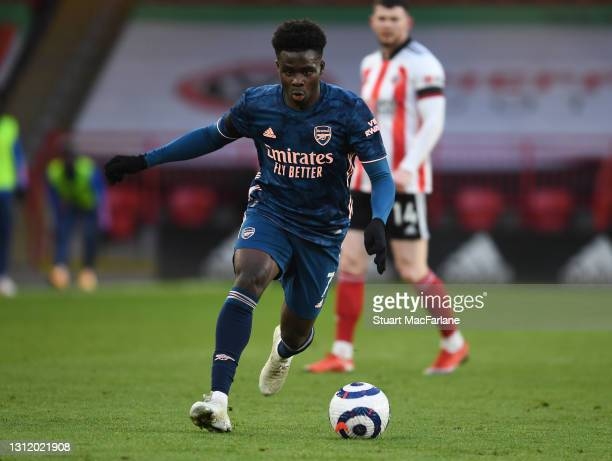 Bukayo Saka of Arsenal during the Premier League match between Sheffield United and Arsenal at Bramall Lane on April 11, 2021 in Sheffield, England....