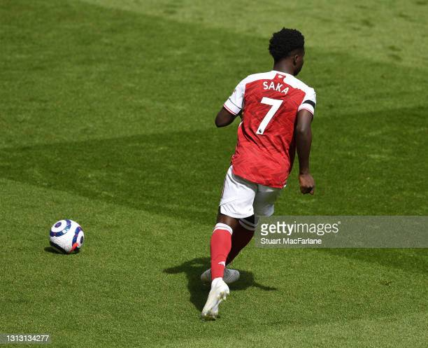 Bukayo Saka of Arsenal during the Premier League match between Arsenal and Fulham at Emirates Stadium on April 18, 2021 in London, England. Sporting...