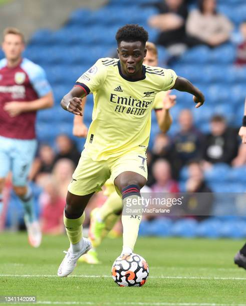Bukayo Saka of Arsenal during the Premier League match between Burnley and Arsenal at Turf Moor on September 18, 2021 in Burnley, England.