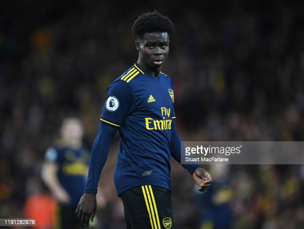 Bukayo Saka of Arsenal during the Premier League match between Norwich City and Arsenal FC at Carrow Road on December 01 2019 in Norwich United...
