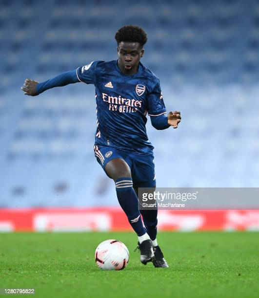 Bukayo Saka of Arsenal during the Premier League match between Manchester City and Arsenal at Etihad Stadium on October 17 2020 in Manchester England...