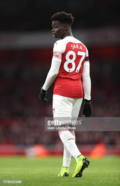 Bukayo Saka of Arsenal during the Premier League match between Arsenal FC and Fulham FC at Emirates Stadium on January 1 2019 in London United Kingdom