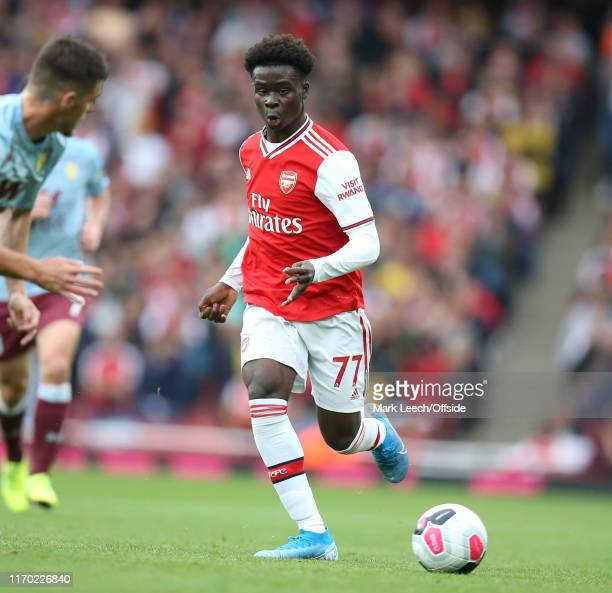 Bukayo Saka of Arsenal during the Premier League match between Arsenal FC and Aston Villa at Emirates Stadium on September 22 2019 in London United...