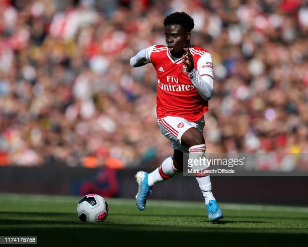 Bukayo Saka of Arsenal during the Premier League match between Arsenal FC and AFC Bournemouth at Emirates Stadium on October 6 2019 in London United...