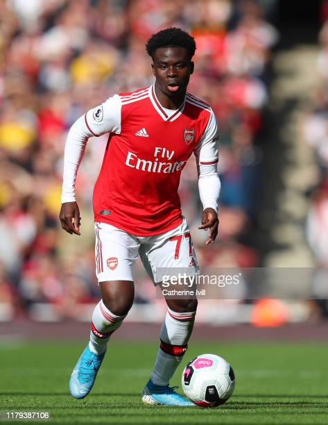 Bukayo Saka of Arsenal during the Premier League match between Arsenal FC and AFC Bournemouth at Emirates Stadium on October 06 2019 in London United...