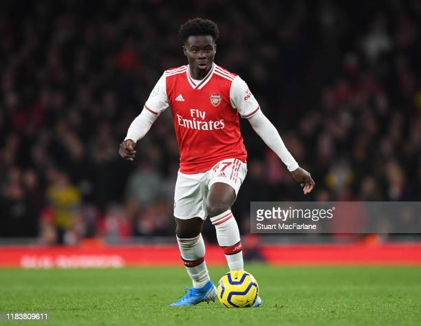 Bukayo Saka of Arsenal during the Premier League match between Arsenal FC and Crystal Palace at Emirates Stadium on October 27 2019 in London United...