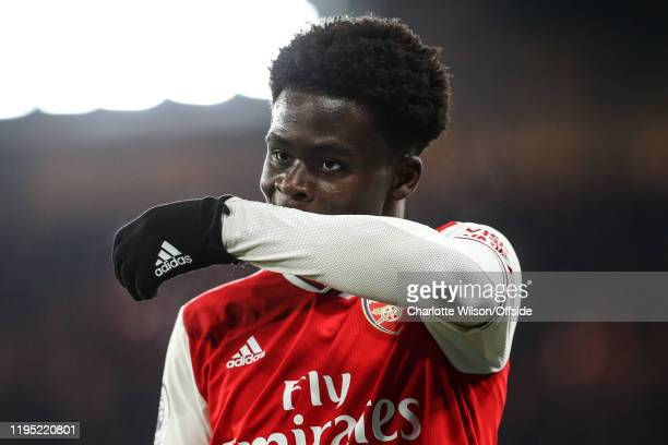 Bukayo Saka of Arsenal during the Premier League match between Chelsea FC and Arsenal FC at Stamford Bridge on January 21 2020 in London United...