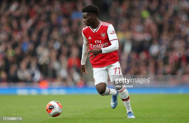 Bukayo Saka of Arsenal during the Premier League match between Arsenal FC and West Ham United at Emirates Stadium on March 07, 2020 in London, United...
