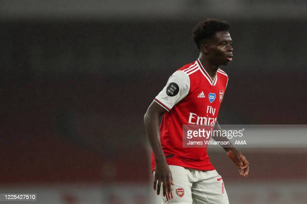 Bukayo Saka of Arsenal during the Premier League match between Arsenal FC and Leicester City at Emirates Stadium on July 7 2020 in London United...