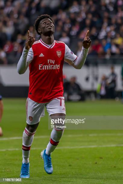 Bukayo Saka of Arsenal FC celebrates after scoring his team's second goal during the UEFA Europa League group F match between Eintracht Frankfurt and...