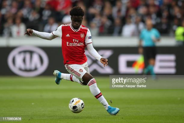 Bukayo Saka of Arsenal FC in action during the UEFA Europa League group F match between Eintracht Frankfurt and Arsenal FC at on September 19 2019 in...