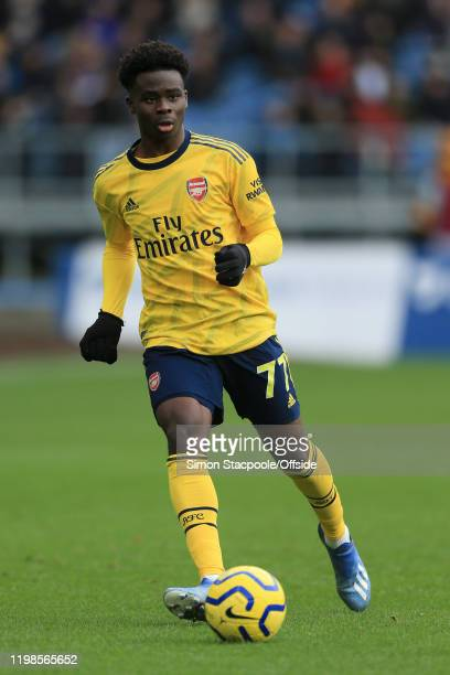 Bukayo Saka of Arsenal in action during the Premier League match between Burnley FC and Arsenal FC at Turf Moor on February 2 2020 in Burnley United...