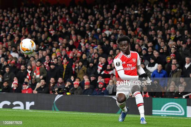 Bukayo Saka of Arsenal in action during the UEFA Europa League match between Arsenal and Olympiacos F.C. At the Emirates Stadium, London on Thursday...