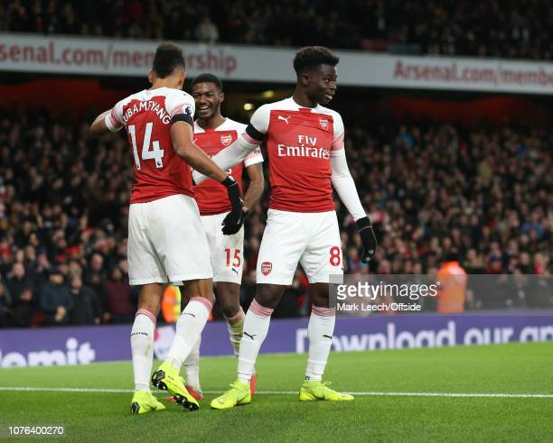 Bukayo Saka of Arsenal joins in with the fourth goal celebrations during the Premier League match between Arsenal FC and Fulham FC at Emirates...