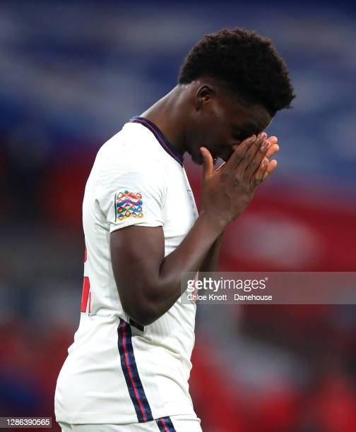 Bukayo Saka of England reacts during the UEFA Nations League group stage match between England and Iceland at Wembley Stadium on November 18 2020 in...