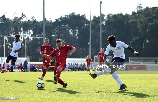 Bukayo Saka of England shoots at goal and scores during the UEFA U19 Championship Qualifier match between England U19 and Czech Republic U19 at St...