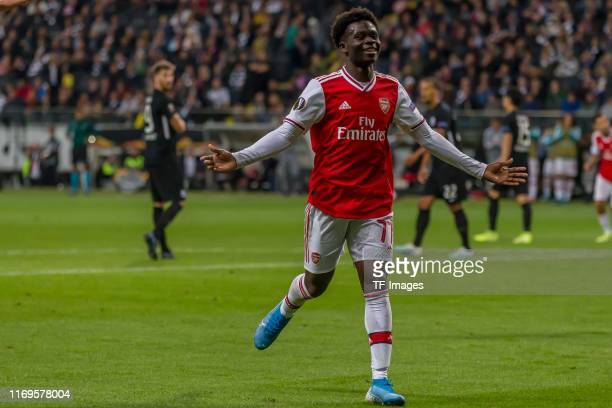 Bukayo Saka of FC Arsenal celebrates after scoring his team's second goal during the UEFA Europa League group F match between Eintracht Frankfurt and...