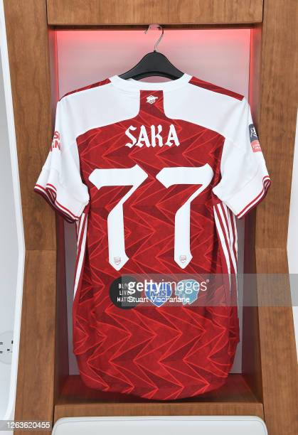 Bukayo Saka shirt in the Arsenal changing room before the FA Cup Final match between Arsenal and Chelsea at Wembley Stadium on August 01 2020 in...