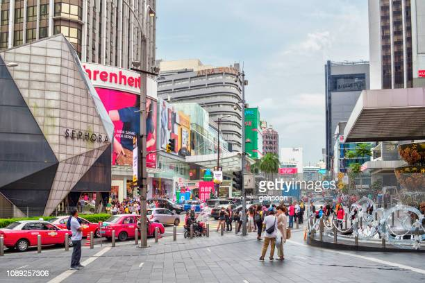 bukit bintang is the major shopping and entertainment district of kuala lumpur, malaysia. luxury retail stores and malls built alongside of the street. this area is popular among tourists and locals. - kuala lumpur stock pictures, royalty-free photos & images