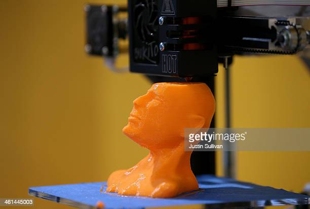 Bukito 3D printer creates the likeness of actor Bruce Willis at the 2014 International CES at the Las Vegas Convention Center on January 8 2014 in...