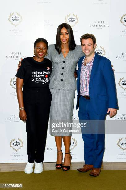 Bukola Bolarinwa, Naomi Campbell and CEO of QCT, Chris Kelly attend the Queen's Commonwealth Trust press conference at Hotel Cafe Royal on September...