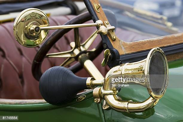 Bulb horn on vintage 1912 Renault car Gloucestershire United Kingdom