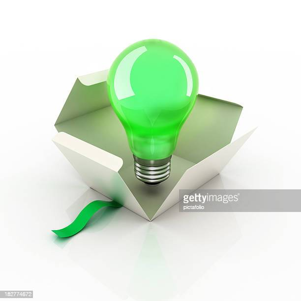 bulb idea box - gift icon stock photos and pictures