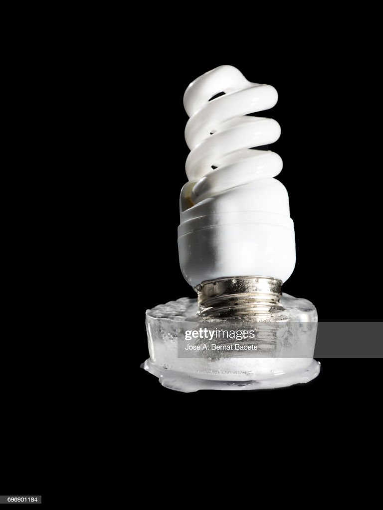 bulb led inside a chunk of ice concept of the rise of the price of