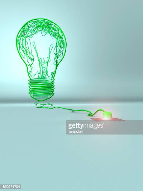 Bulb made of green wires in a green environment
