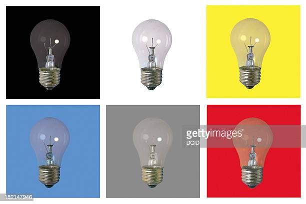 6 Glühbirnen auf Hintergründe