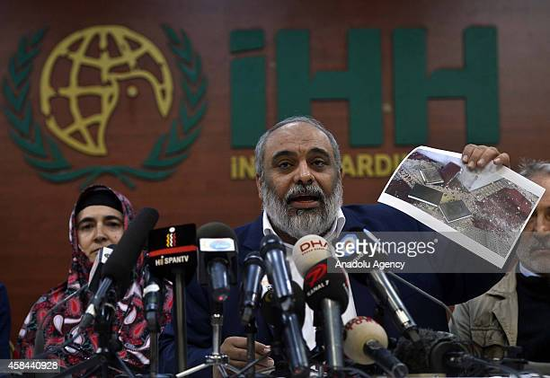 Bulent Yildirim president of IHH Humanitarian Relief Foundation speaks during a press conference about the decision of International Criminal Court...