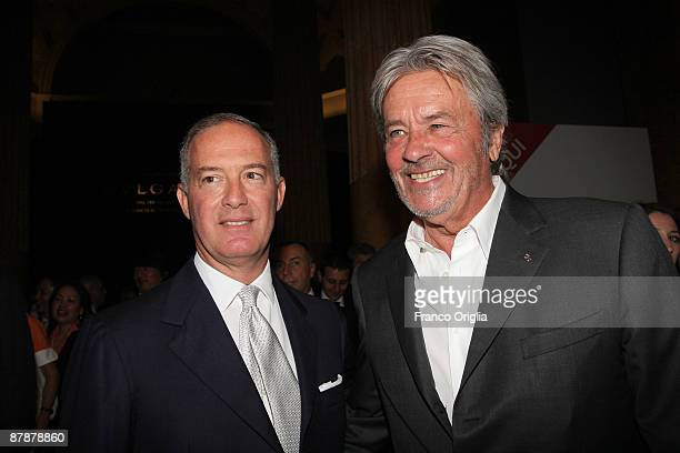 Bulgari CEO Francesco Trapani and actor Alain Delon attend the BULGARI 'Between Eternity And History' opening exhibition cocktail party held at the...