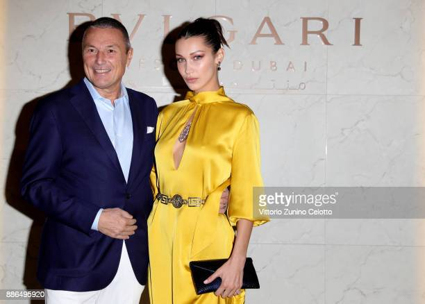 Bulgari CEO JeanChristophe Babin and Bella Hadid attend the Grand Opening of Bulgari Dubai Resort on December 5 2017 in Dubai United Arab Emirates