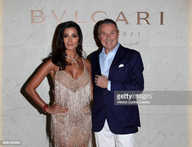 Bulgari CEO JeanChristophe Babin and Nadine Nassib Njeim attend the Grand Opening of Bulgari Dubai Resort on December 5 2017 in Dubai United Arab...