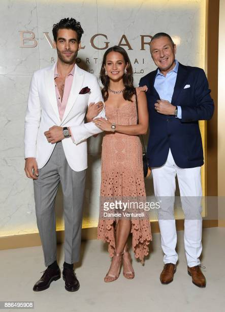 Bulgari CEO JeanChristophe Babin Jon Kortajarena and Alicia Vikander attend the Grand Opening of Bulgari Dubai Resort on December 5 2017 in Dubai...