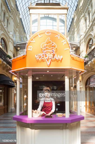 Bulgari icecream stand in GUM as part of the Bulgari exhibition at Kremlin Museum on September 6 2018 in Moscow Russia